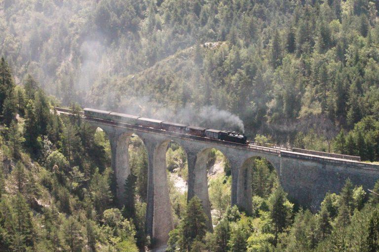 Le Train des Pignes à Vapeur sur le viaduc de la Donne