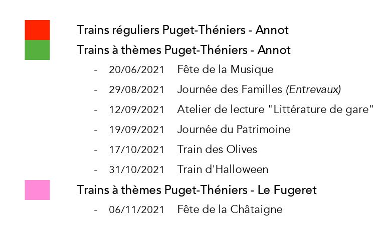 Légende Calendrier 2021 - Train des Pignes à Vapeur
